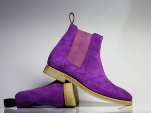 Handmade Men's Purple Ankle High Chelsea Suede Boots, Men Dress Stylish Boots - theleathersouq