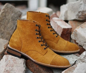 Handmade Men's Ankle High Boots, Men Tan Brown Suede Cap Toe Lace Up Casual Boots - theleathersouq