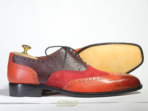 Handmade Men's Multi Color Wing Tip Brogue Shoes, Men Leather Suede Lace Up Shoe - theleathersouq