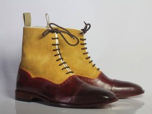 Handmade Men's Burgundy & Tan Ankle Cap Toe Boots, Men Leather Suede Lace Up Boot - theleathersouq