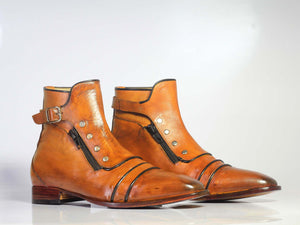 Handmade Men's Tan Ankle High Boots, Men Cap Toe Buckle & Zipper Leather Boots - theleathersouq