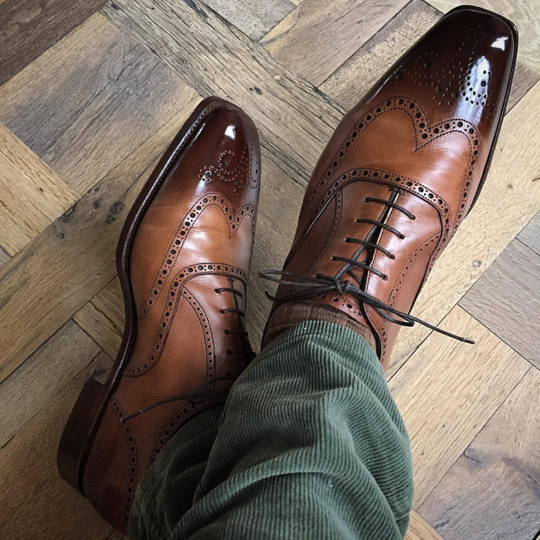Handmade Men's Brown Wing Tip Brogue Shoes, Men Square Toe Dress Formal Shoes - theleathersouq