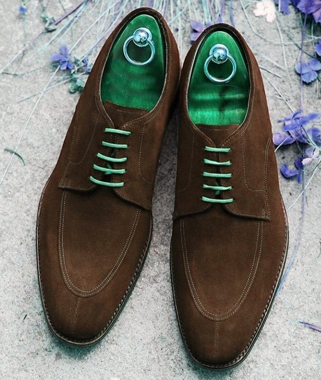 Handmade Men's Suede Stylish Lace Up Shoes, Men's Brown Color Split Toe Shoes - theleathersouq