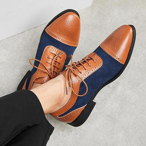 Handmade Men's Leather Suede Shoes, Men Tan Navy Blue Cap Toe Brogue Dress Shoes - theleathersouq