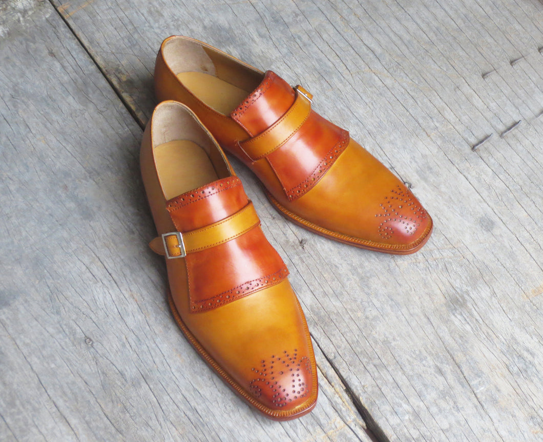 Handmade Men's Monk Strap Dress Shoes, Men Tan Brown Brogue Leather Formal Shoes - theleathersouq