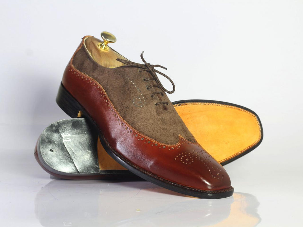 Handmade 2 tone Brown Leather Suede Shoes, Men's Wing Tip Brogue Dress Shoes - theleathersouq