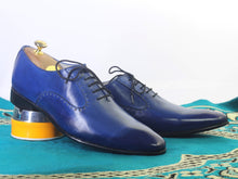 Load image into Gallery viewer, Handmade Men's Blue Leather Lace up Shoes, Men Stylish Dress Formal Shoes - theleathersouq