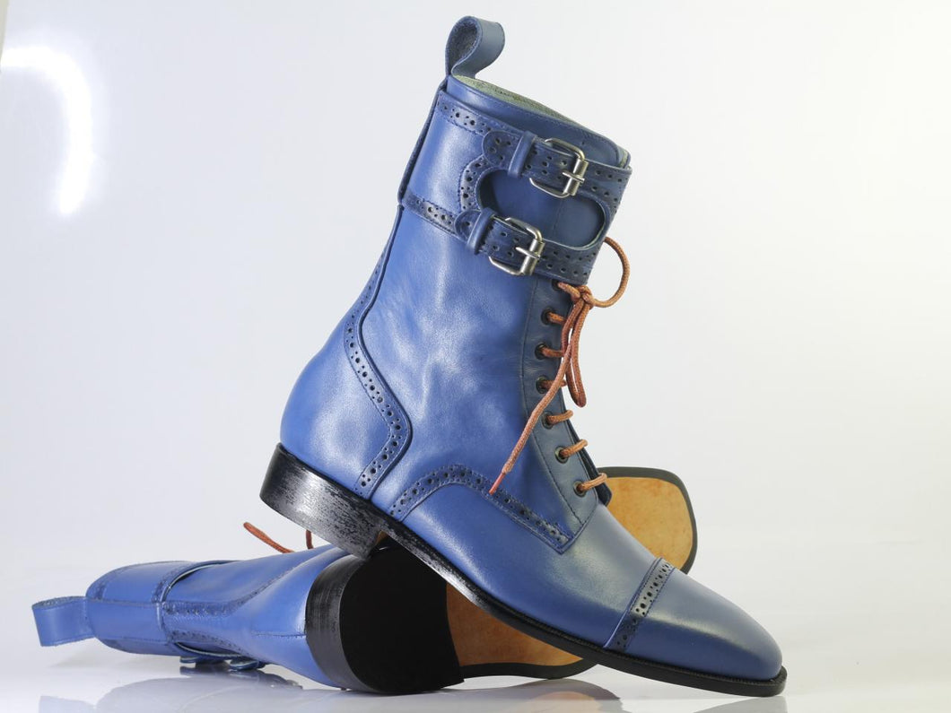 Handmade Men's Blue Cap Toe Ankle High Double Monk Strap Lace Up Leather Boots - theleathersouq