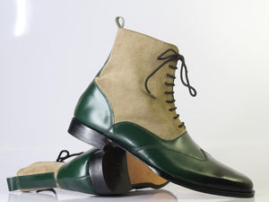 Handmade Men's Green Beige Lace Up Boots, Men Wing Tip Leather Suede Ankle Boots - theleathersouq