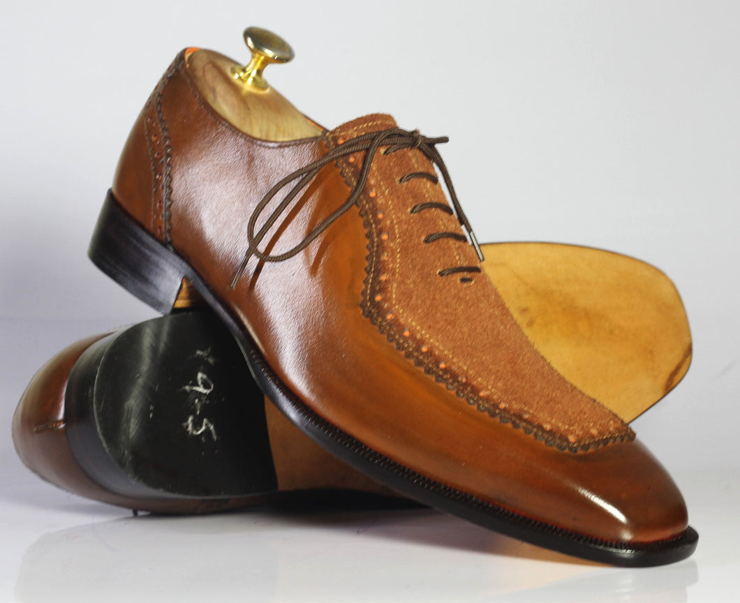 Handmade Men's Brown Square Toe Leather Suede Shoes, Men Stylish Dress Shoes - theleathersouq