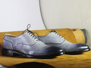 Men's Handmade Silver Brogue Leather Lace Up Shoes, Men Stylish Designer Shoes - theleathersouq