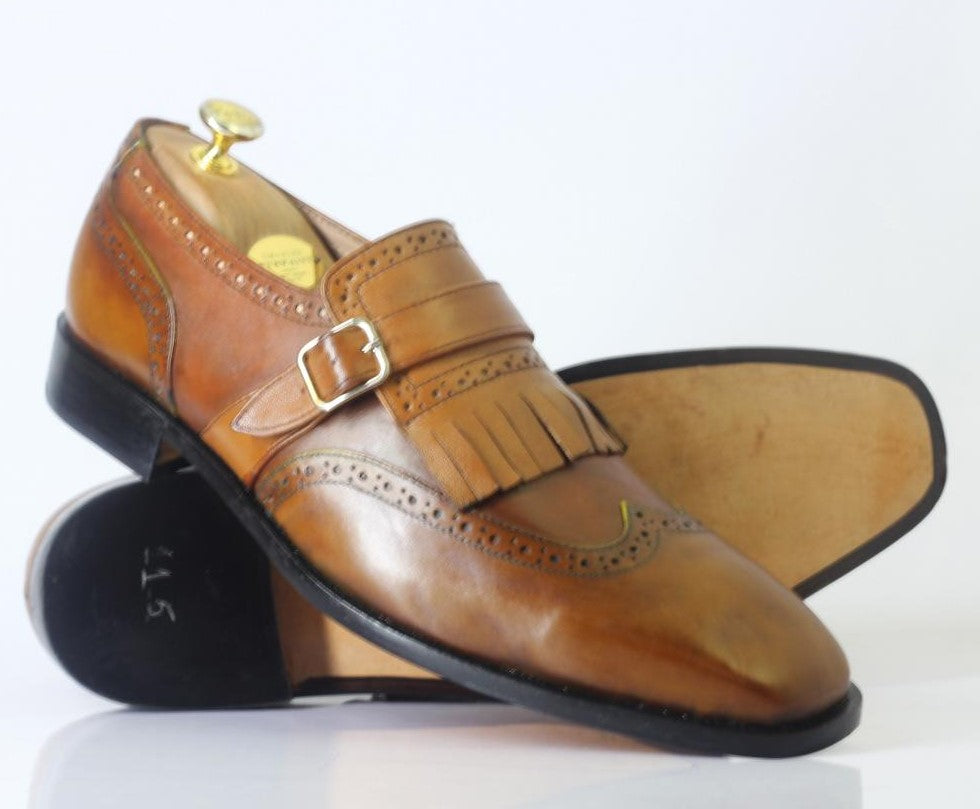Handmade Men's Brown Fringe Monk Straps Leather Shoes, Men Wing Tip Dress Shoes - theleathersouq