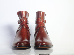 Handmade Men's Ankle High Burgundy Leather Boots, Men Designer Jodhpurs Boots - theleathersouq