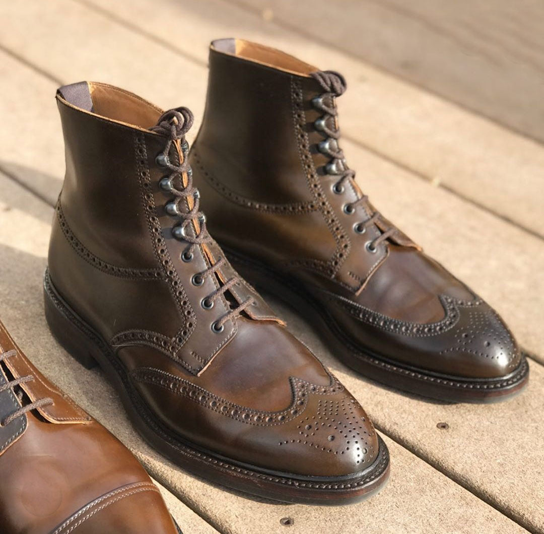 Handmade Men's Brown Lace Up Boots Men Leather Ankle High Wingtip Brogue Boots