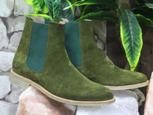 Load image into Gallery viewer, Handmade Men Olive Green Suede Chelsea Boots, Men Fashion Designer Boots - theleathersouq