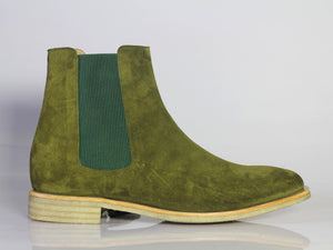 Handmade Men Olive Green Suede Chelsea Boots, Men Fashion Designer Boots - theleathersouq