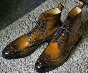 Handmade Men's Ankle High Brown Leather Shoes, Men Wing Tip Brogue Lace Up Boots - theleathersouq
