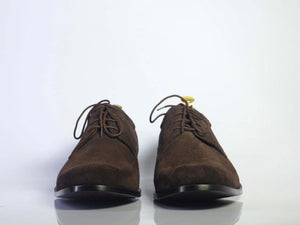Handmade Men's Chocolate Brown Lace Up Shoes, Men Suede Dress Designer Shoes - theleathersouq