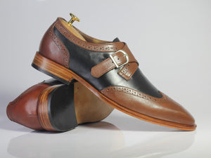 Handmade Men's Brown Black Wing Tip Leather Shoes, Men Monk Strap Dress Shoes - theleathersouq