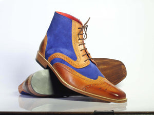 Handmade Men's Ankle high Blue Brown Leather & Suede Boots, Men Designer Boots - theleathersouq