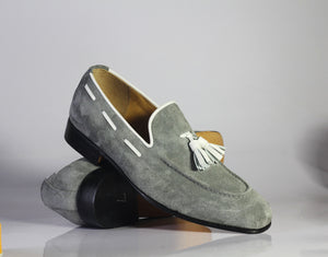 Handmade Men's Gray Tussles Loafer Shoes, Men Stylish Suede Dress Formal Shoes - theleathersouq