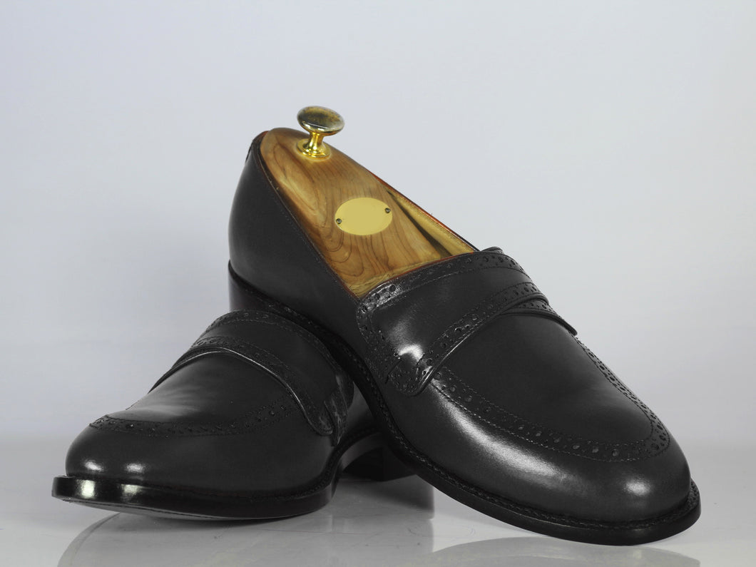 Handmade Men's Black Shoes, Men Leather Penny Loafers Shoes, Dress Formal Shoes - theleathersouq
