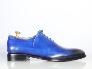 Handmade Men's Blue Shoes, Men Leather Lace Up Dress Shoes - theleathersouq