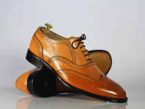 Handmade Men Brown Wing Tip Brogue Shoes, Men Leather Lace Up Dress Formal Shoes - theleathersouq