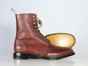 Handmade Men's Burgundy Wing tip Brogue Boots, Men Pebbled Leather Lace Up Boots - theleathersouq