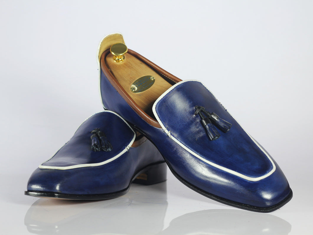 Handmade Men's Blue Leather Loafer Shoes, Men Tussle Stylish Designer Shoes - theleathersouq