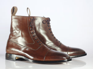 Handmade Men's Brown Ankle High Boots, Men Leather Cap Toe Lace Up Fashion Boots - theleathersouq