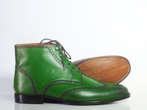 Handmade Men's Green Leather Chukka Boots, Men Wing Tip Brogue Toe Lace Up Boots - theleathersouq