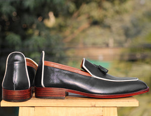 Handmade Men's Black Leather Loafer Shoes, Men Tussle Stylish Designer Shoes - theleathersouq