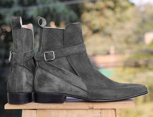 Handmade Men's Ankle High Black Suede Boots, Men Designer Jodhpurs Boots - theleathersouq
