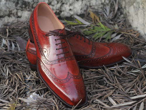 Awesome Handmade Men's Brown Wing Tip Brogue Leather Shoes, Men Lace up Designer Shoes - theleathersouq