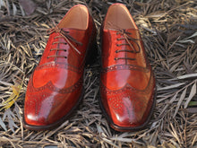 Load image into Gallery viewer, Awesome Handmade Men's Brown Wing Tip Brogue Leather Shoes, Men Lace up Designer Shoes - theleathersouq