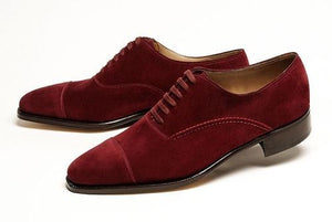 Stylish Men's Handmade Maroon Color Oxford Cap Toe Suede Leather Lace up Formal Shoes - theleathersouq