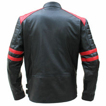Load image into Gallery viewer, Brando Men's Black & Red Padded Power Shoulders Biker Genuine Leather Jacket - theleathersouq