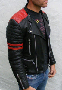 Brando Men's Black & Red Padded Power Shoulders Biker Genuine Leather Jacket - theleathersouq