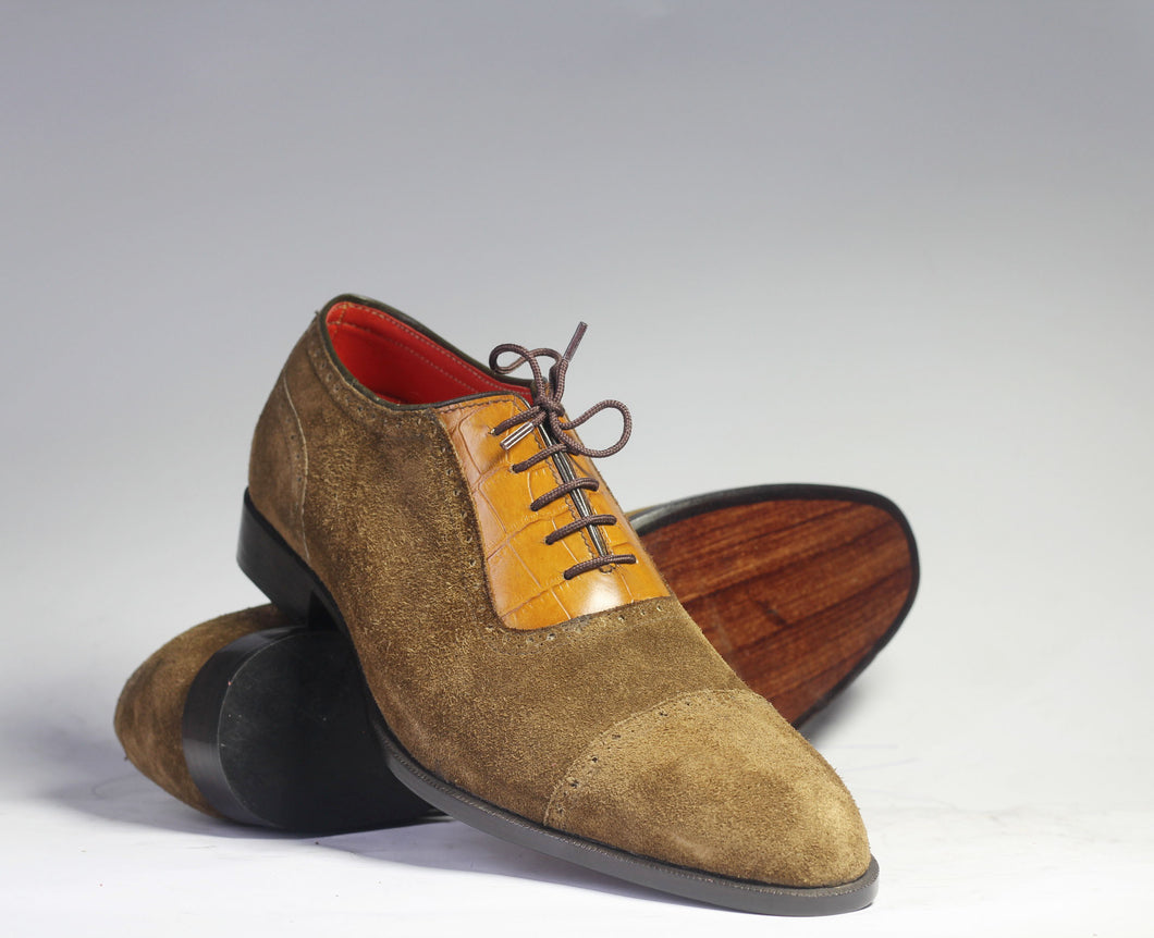 Handmade Brown Leather Suede Shoes, Men's Derby Fashion Dress Shoes - theleathersouq