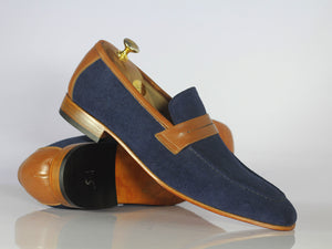 Awesome Handmade Men's Blue Suede Brown Leather Loafer Shoes, Men Designer Shoes - theleathersouq
