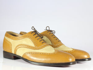 Men's Bespoke Tan Leather Beige Suede Shoes, Men Wing Tip Brogue Designer Shoes - theleathersouq