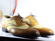 Load image into Gallery viewer, Men's Bespoke Tan Leather Beige Suede Shoes, Men Wing Tip Brogue Designer Shoes - theleathersouq