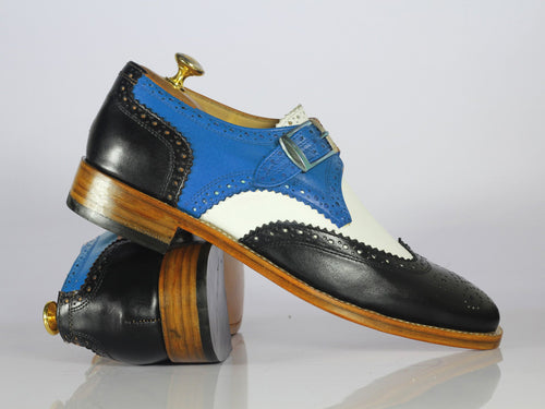 Bespoke Multi Color Leather Wing Tip Buckle Up Shoes, Men Monk Strap Dress Shoes - theleathersouq