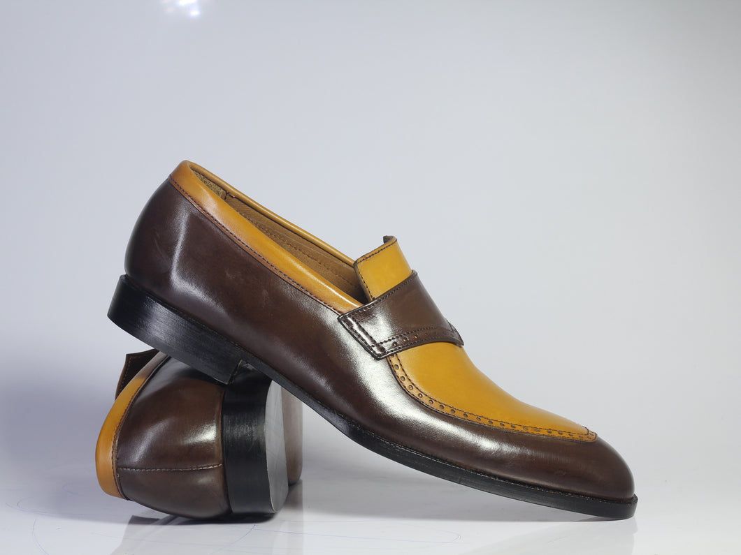 Handmade Men's Tan Brown Leather Penny Loafer Shoes, Men Designer Dress Shoes - theleathersouq