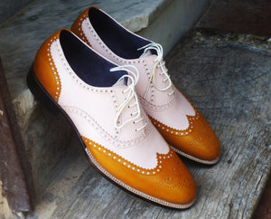 Handmade Men's White Tan Leather Wing Tip Brogue Shoes, Men Designer Shoes - theleathersouq