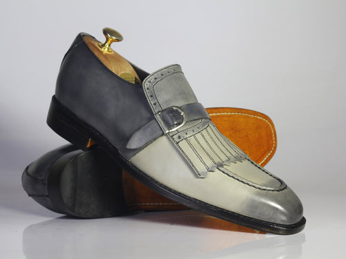 Bespoke Gray Fringes Monk Strap Shoes, Men's Handmade Leather Suede Dress Shoes - theleathersouq