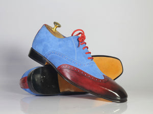 Handmade Men's Blue Suede Burgundy Leather Wing Tip Shoes, Men Designer Shoes - theleathersouq