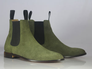 Handmade Men's Green Suede Ankle High Chelsea boots, Men Designer Formal Boots - theleathersouq