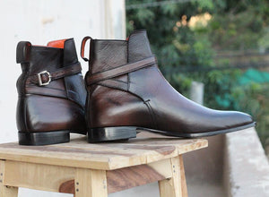 Handmade Men's Ankle High Brown Leather Boots, Men Designer Jodhpurs Boots - theleathersouq